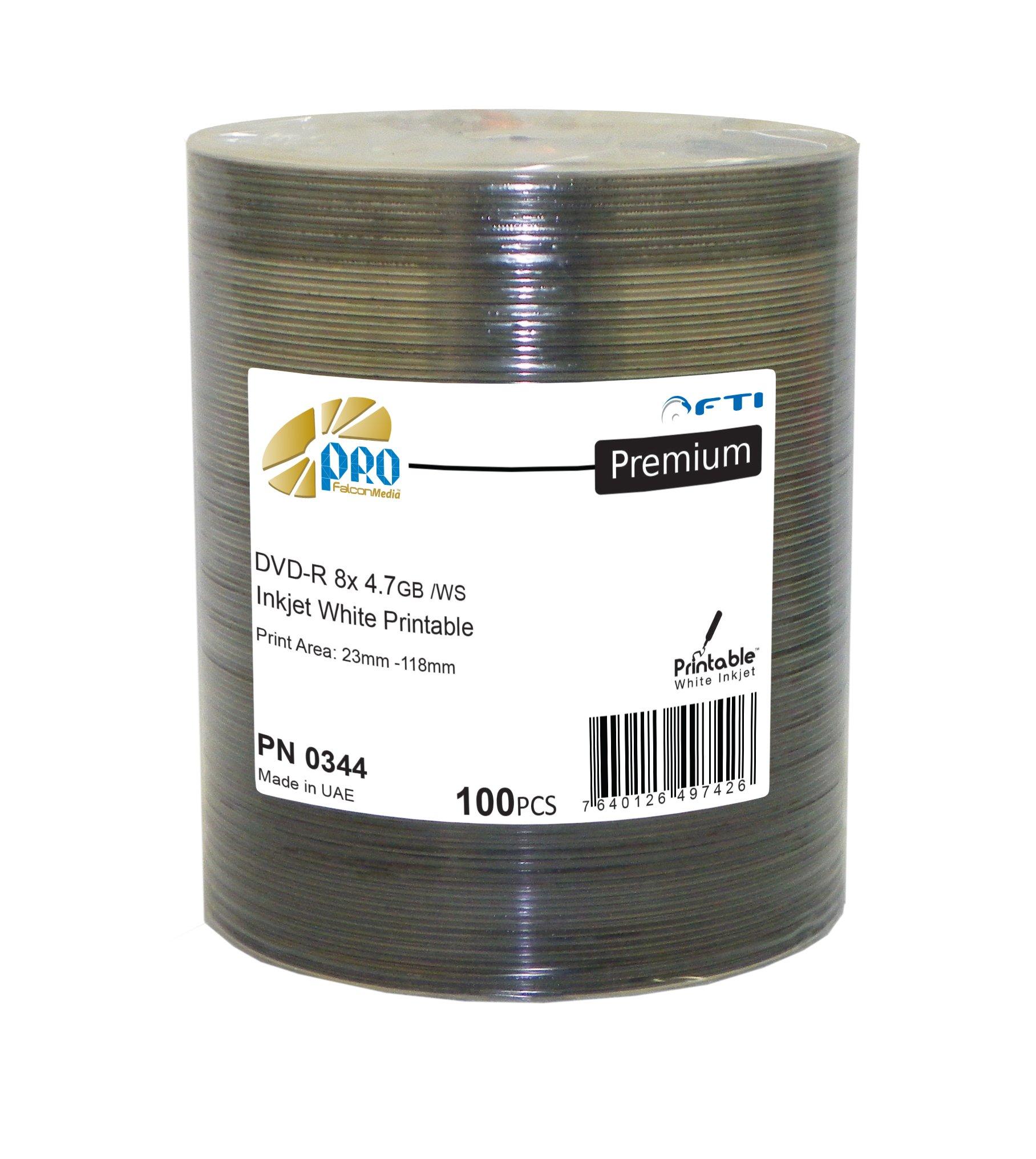 FalconMedia Premium Line DVD-R 8x 4.7GB Inkjet White Printable print area 23mm-118mm