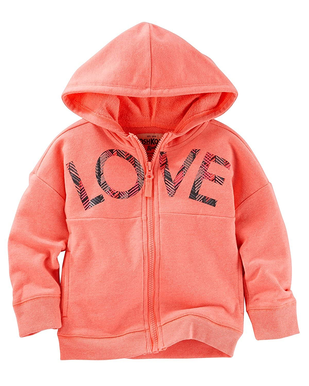 Oshkosh Girls Love Neon Orange Active Hoodie 2T
