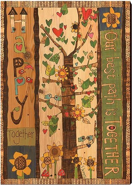 Celycasy Happy Together Stampa Su Legno Da Appendere Alla Parete Decorazione Per La Casa Sbht 1218 Amazon It Casa E Cucina