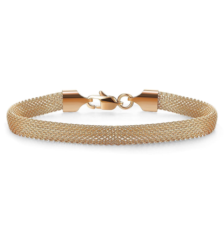 Jstyle Mesh Bracelet Stainless Steel Chain Link Bracelets for Women Girls Rose Silver Golden Tone 7-8 Inch