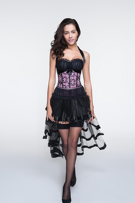 R-Dessous sexy Corsagenkleid Corsage + Rock Mini Kleid schwarz ...