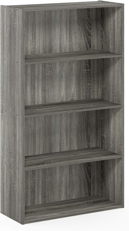 FURINNO Pasir 4 Tier Open Shelf, French Oak Grey