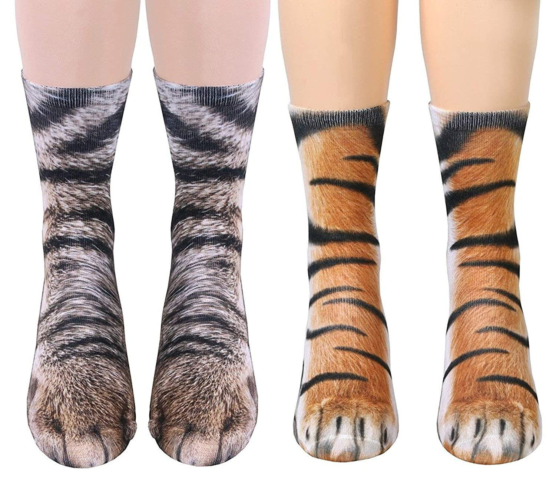 Moonasy Unisex Animal Paw Crew Socks 3D Printed Novelty Socks