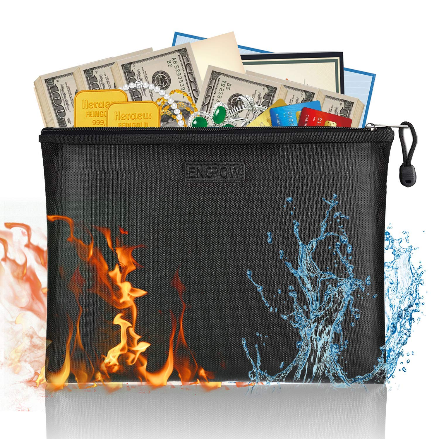 ENGPOW Fireproof Money Bag/Silicone Coated Fire Water Resistant for Document, Securit Bank Deposit with Utility Zipper Coin Bag,11.5X7.9 inches Check Wallet,Black