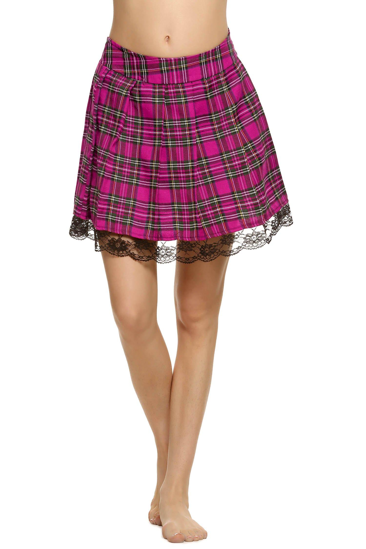 ELOVER Women Lingerie Skirt Role Play Costume Mini Plaid Skirt Schoolgirl Cosplay Pleated Dress Rose Red S