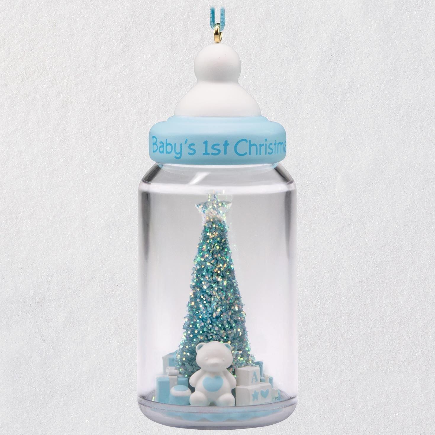 Hallmark Keepsake Christmas Ornament 2018 Year Dated, Baby Boy's First Christmas Baby Bottle