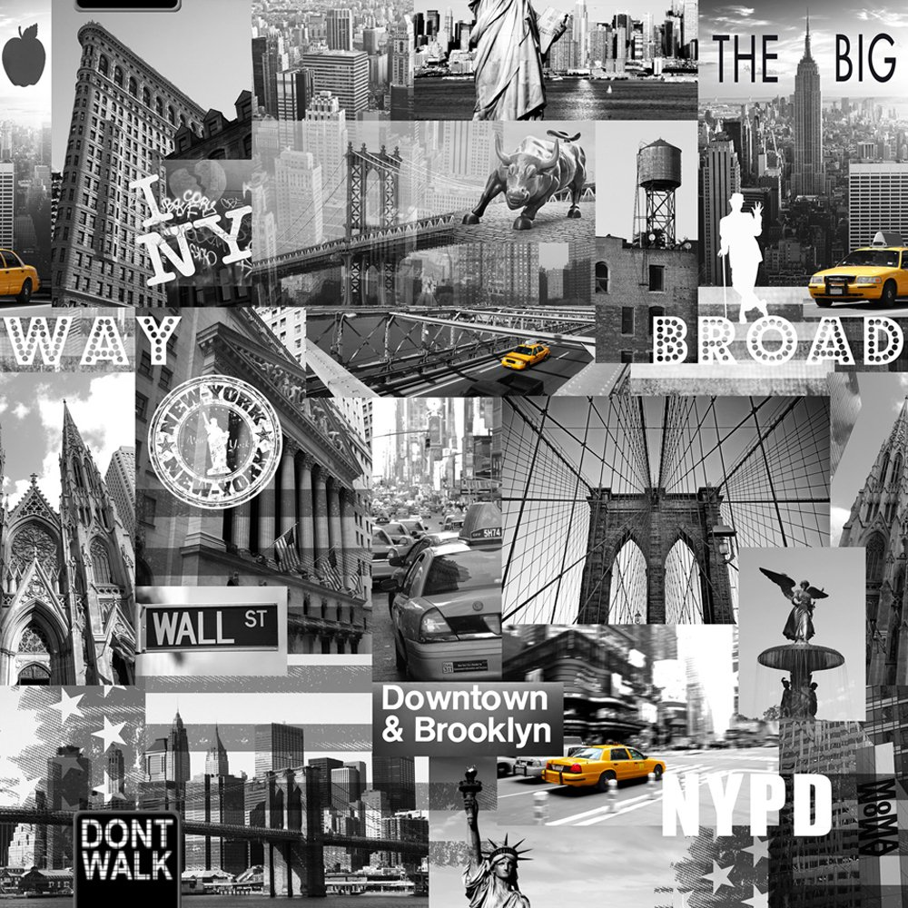 Muriva Big Apple New York City Wallpaper Black Grey Yellow Amazoncouk DIY Tools