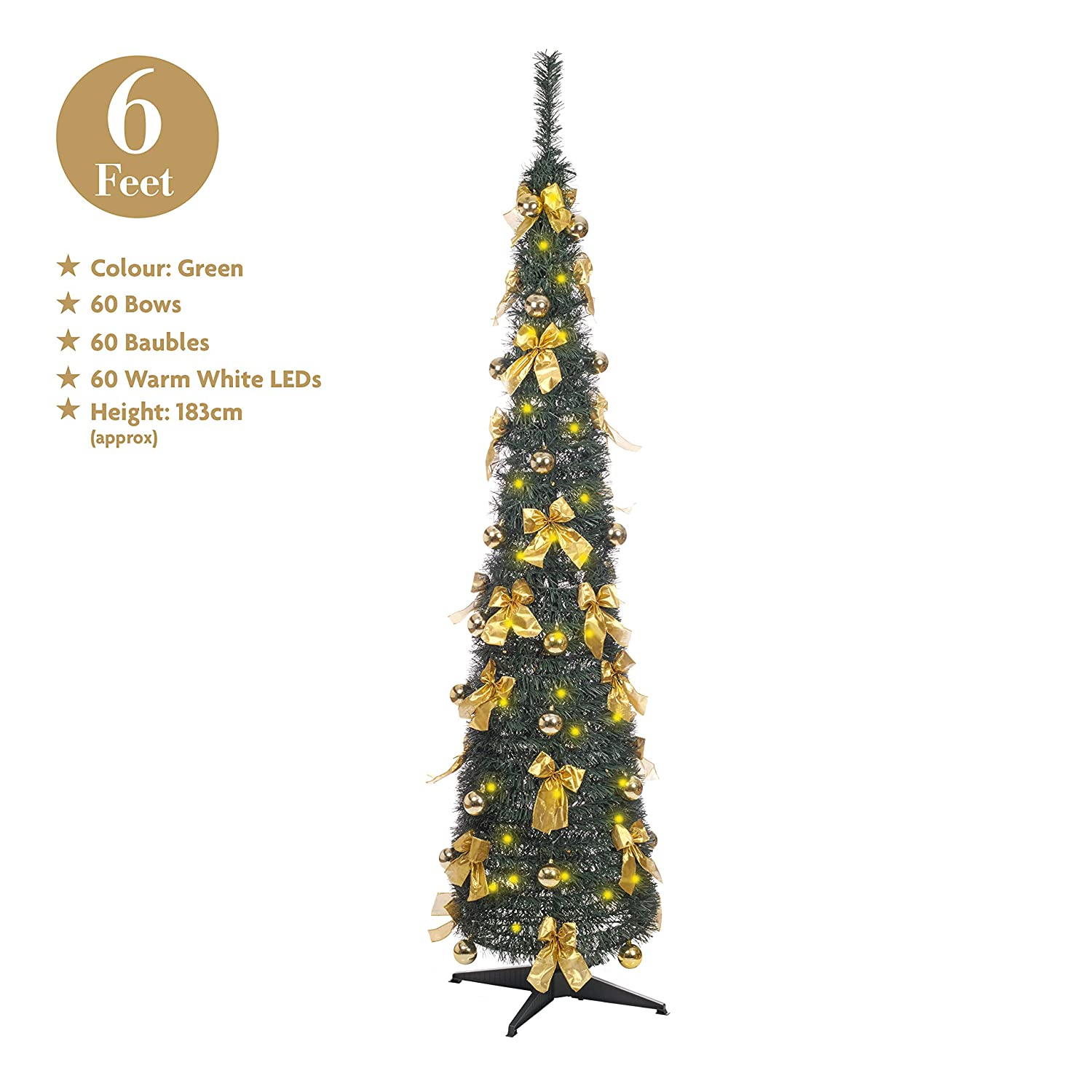 Green Pop Up 6ft Xmas Tree 60 LED Bows Baubles Pre-Decorated Pre-Lit ...