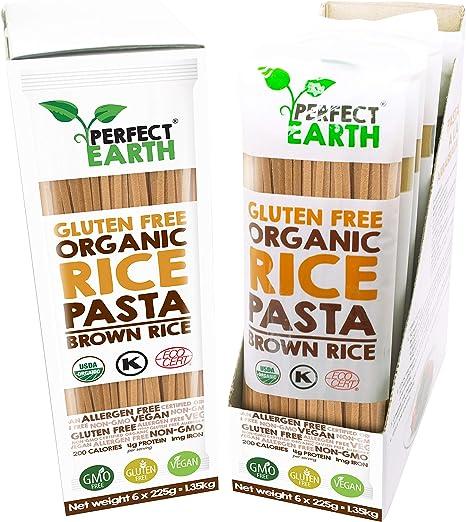 Pasta De Arroz Orgánica   Fideos   Sin gluten   Apto vegano y celiaco   Paquete de 6 (Marron)