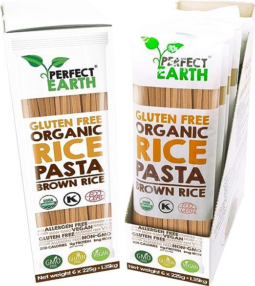 Pasta De Arroz Orgánica | Fideos | Sin gluten | Apto vegano y celiaco | Paquete de 6 (Marron)