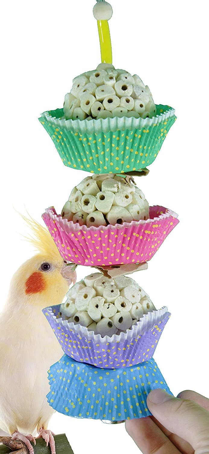 Three Cake Bonka Bird Toys 1931 3CAKE Bird Toy Foraging Parred cage Toys Cages Shred Cockatiel African Grey