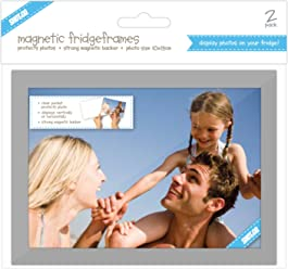 Shot2go magnetic photo fridge frame pockets silver border 4x6 2 pack