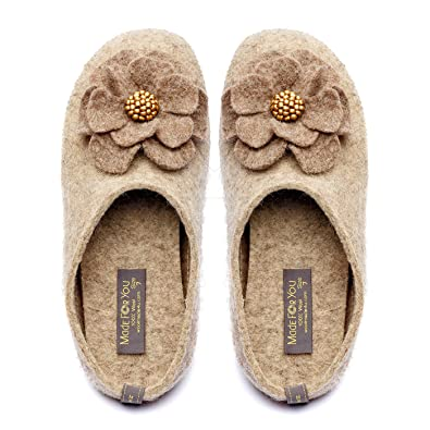 77db90ba7d794 Made For You Women's Wool Slippers with Handmade Flower, Lightweight with  Non-Slip Rubber Sole and Arch Support Insole