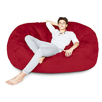 Lumaland Luxury 6-Foot Bean Bag Chair with Microsuede Cover Red, Machine  Washable Big Size Sofa and Giant Lounger Furniture for Kids, Teens and  Adults