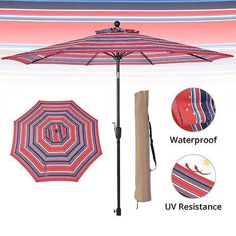 Amazon Com Lch 9ft Striped Patio Outdoor Umbrella Backyard 8 Ribs