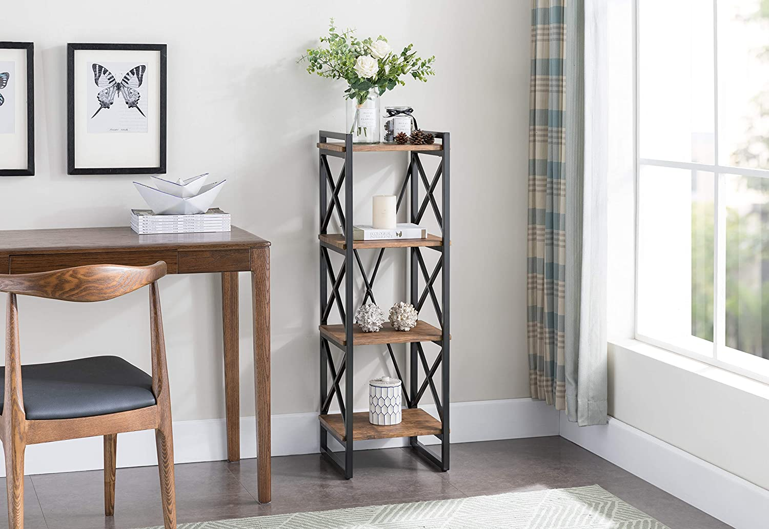 4 Tier Rustic Brown Metal Frame Bookshelf For 1495 Shipped