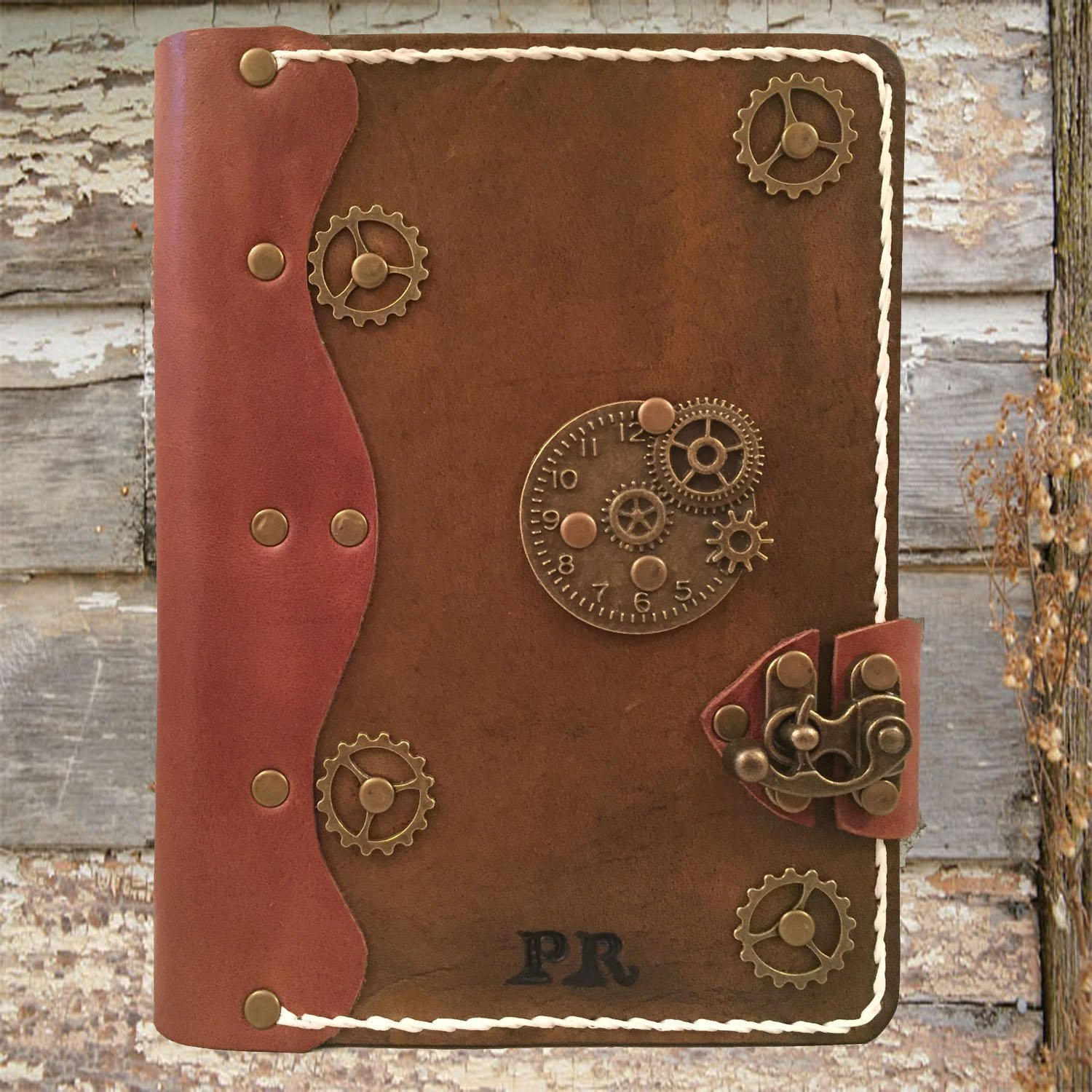 Handmade leather journal,refillable leather journal,personalized leather journal,steampunk leather journal,leather notebook,distressed leather journal,leather sketchbook by Papyrus Crafts