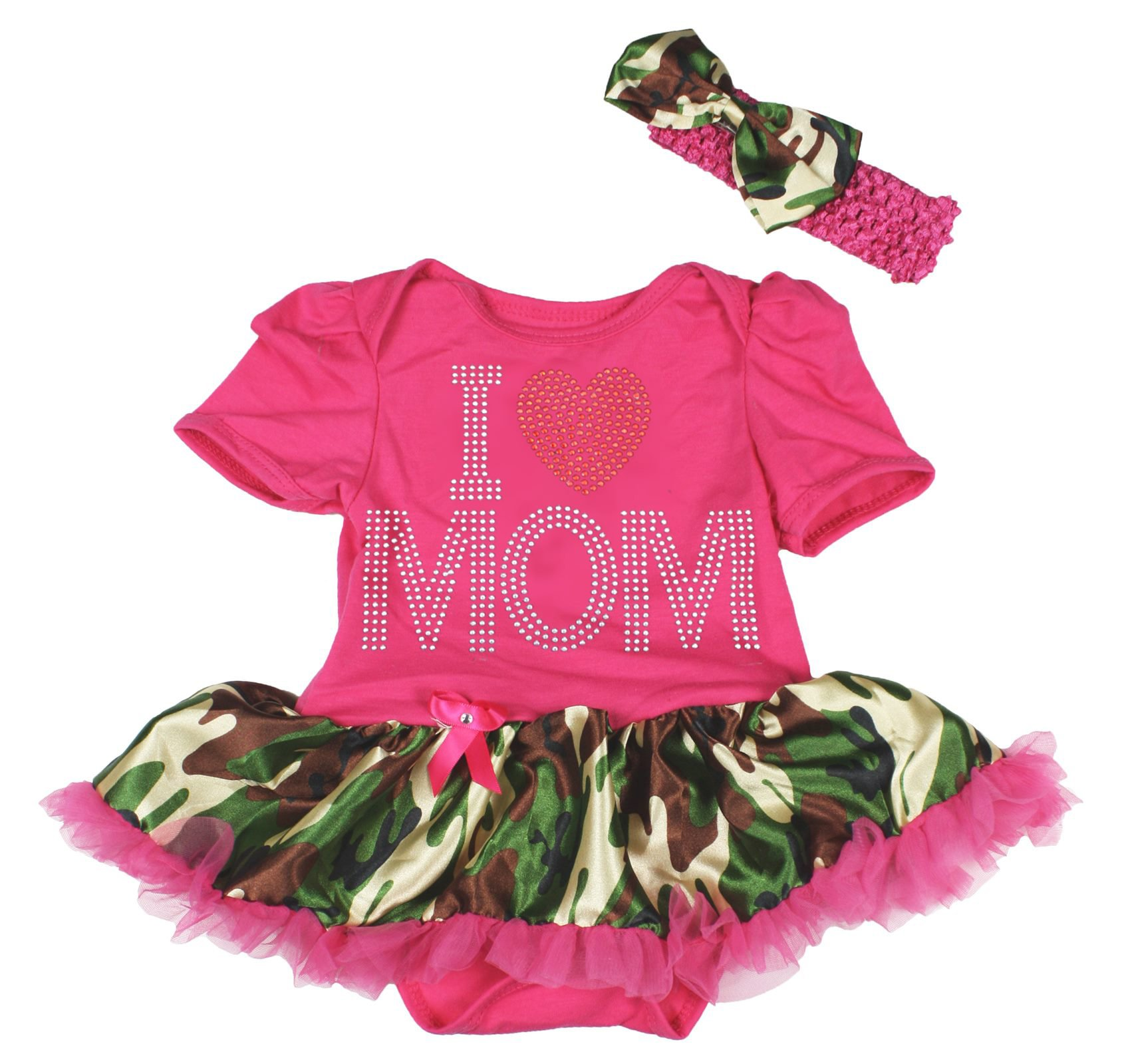 Petitebella I Love Mom Hot Pink Cotton Bodysuit Camouflage Dress Nb-18m (3-6month)