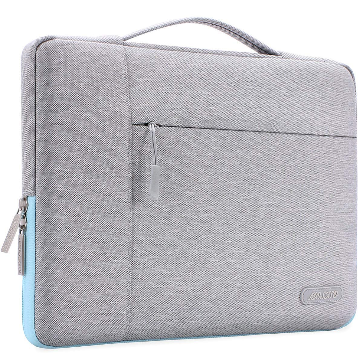 MOSISO Laptop Sleeve Compatible with 13-13.3 inch MacBook Air, MacBook Pro, Notebook Computer, Polyester Multifunctional Briefcase Handbag Carrying Case Cover Bag, Gray&Hot Blue