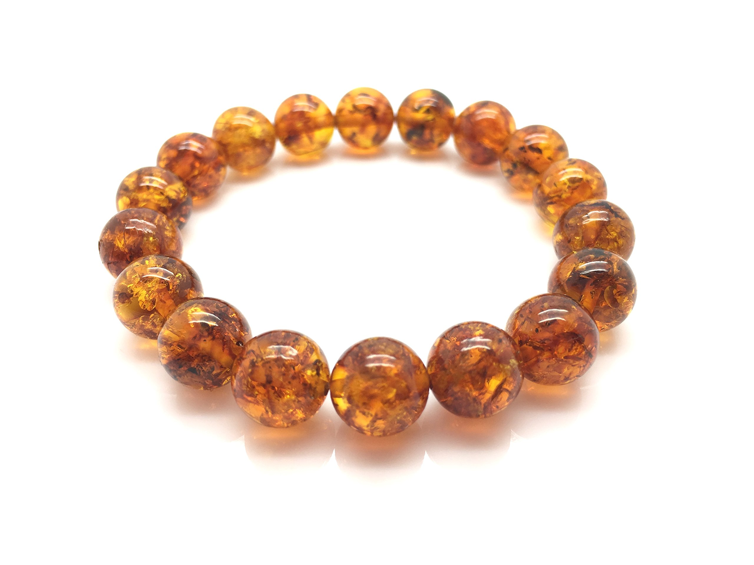 Natural Baltic Amber Bracelet Light Cognac Colour 10,6g 10± mm Size. by Mister Amber