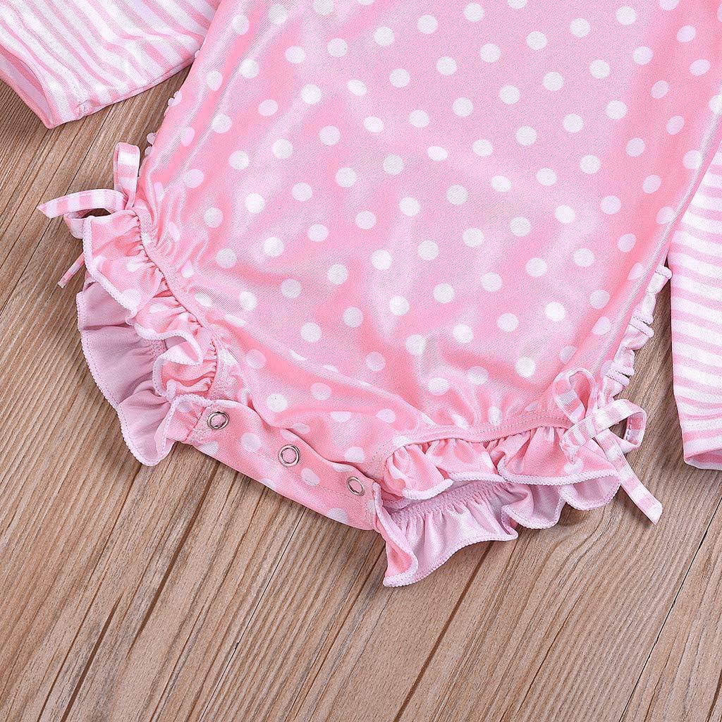 TEVEQ Kids Baby Girl Swimwear Ruffled Dot Striped Swimsuit with Sun Protection