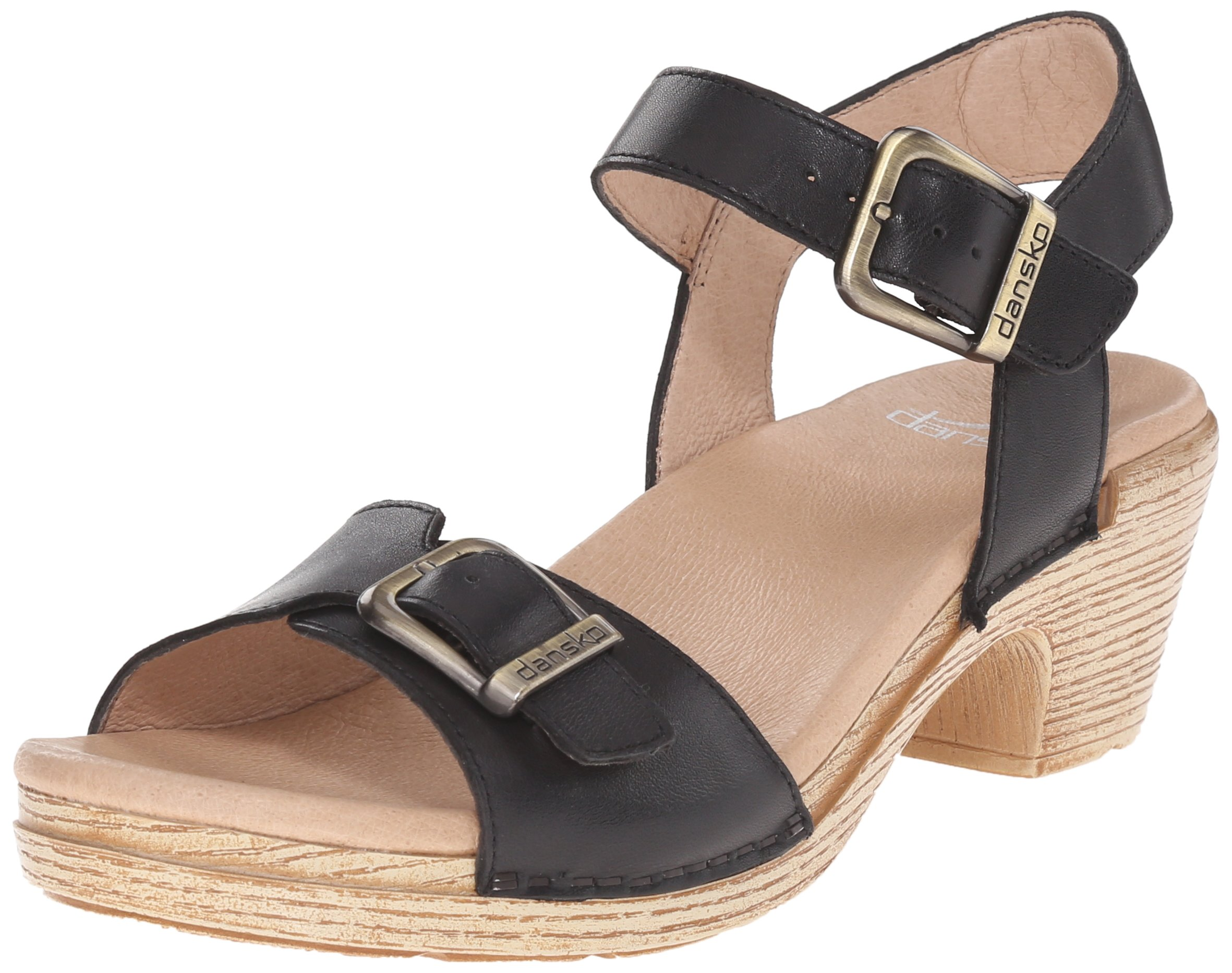 Dansko Women's Matty Heeled Sandal, Black Full Grain, 41 EU/10.5-11 M US