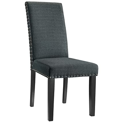 modway parcel modern upholstered fabric parsons dining chair with polished nailhead trim and wood legs in - Parsons Dining Chairs