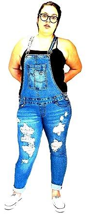 e2d55f511 Women's Plus Size Curvy Camouflage Distressed Denim Jeans Skinny Moto  Overalls (Blue, ...