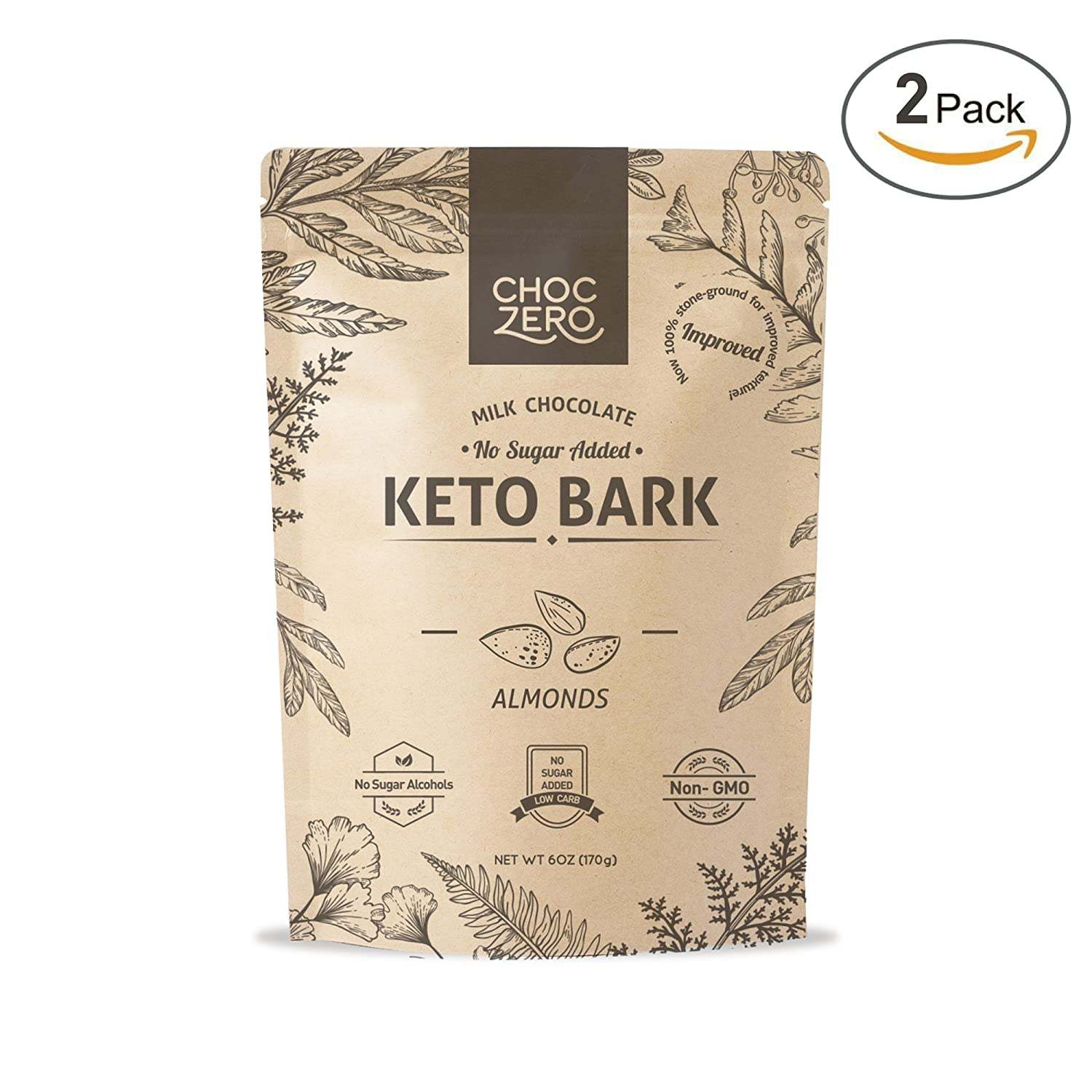 ChocZero's Keto Bark, Milk Chocolate Almonds,while rather yet 100% Stone-Ground, No Added Sugar, Low Carb, No Sugar Alcohols, Non-GMO