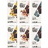 Theo Chocolate Organic Dark Chocolate + Sea Salt Variety 6-Pack | 3 Different Flavors, 2 of Each Bar
