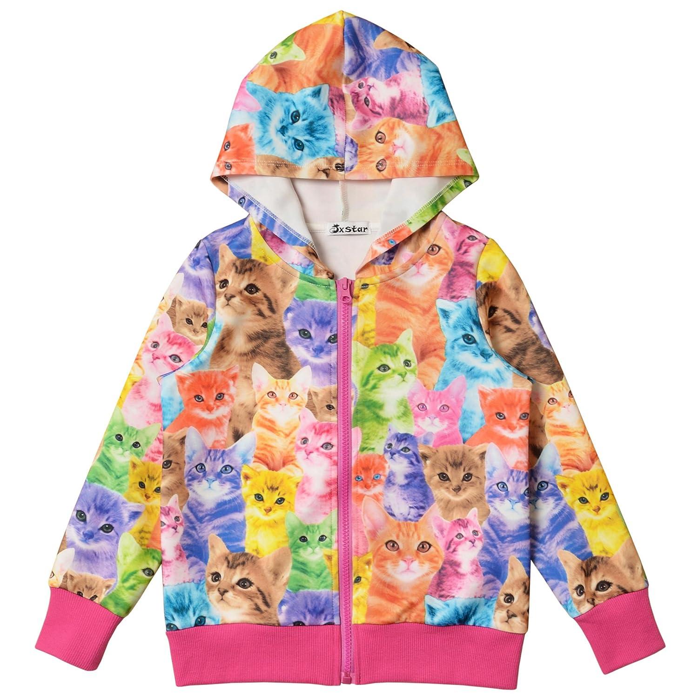 Jxstar Little Girls Cat Print Long Sleeve Front Zip Hoodie Jacket Coat Bomber Jacket JXAM60817GC