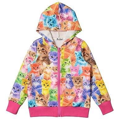 9bcc8b0c6 Jxstar Little Girls Cat Long Sleeve Hoodie Coat Jacket Full Zip Pocket  Outwear