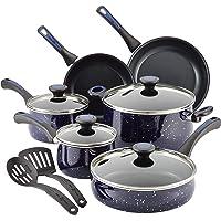 Paula Deen 13793 Riverbend Nonstick Cookware Set / Pots and Pans Set - 12 Piece ,Deep Sea Blue Speckle