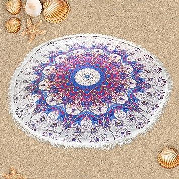 Preciosa Bohemia Manta de Playa Colorida Esterilla de Yoga Perfecta Toalla Mandala para Relajarse en la Arena, Picnic y Decoración en la Pared (multicolor): ...
