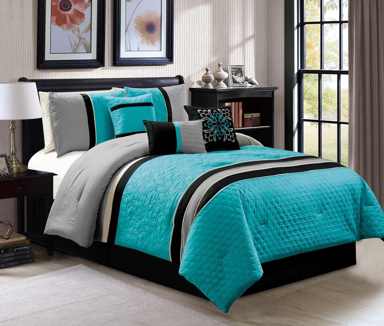 7 pc queen size quartrefoil quilted blue gray black comforter set bed in a bag ebay. Black Bedroom Furniture Sets. Home Design Ideas