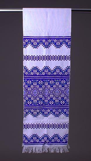 200 x 30 cm Ucrania Rushnyk bordado a mano satén STITH toalla azul eslavo boda Decor: Amazon.es: Hogar
