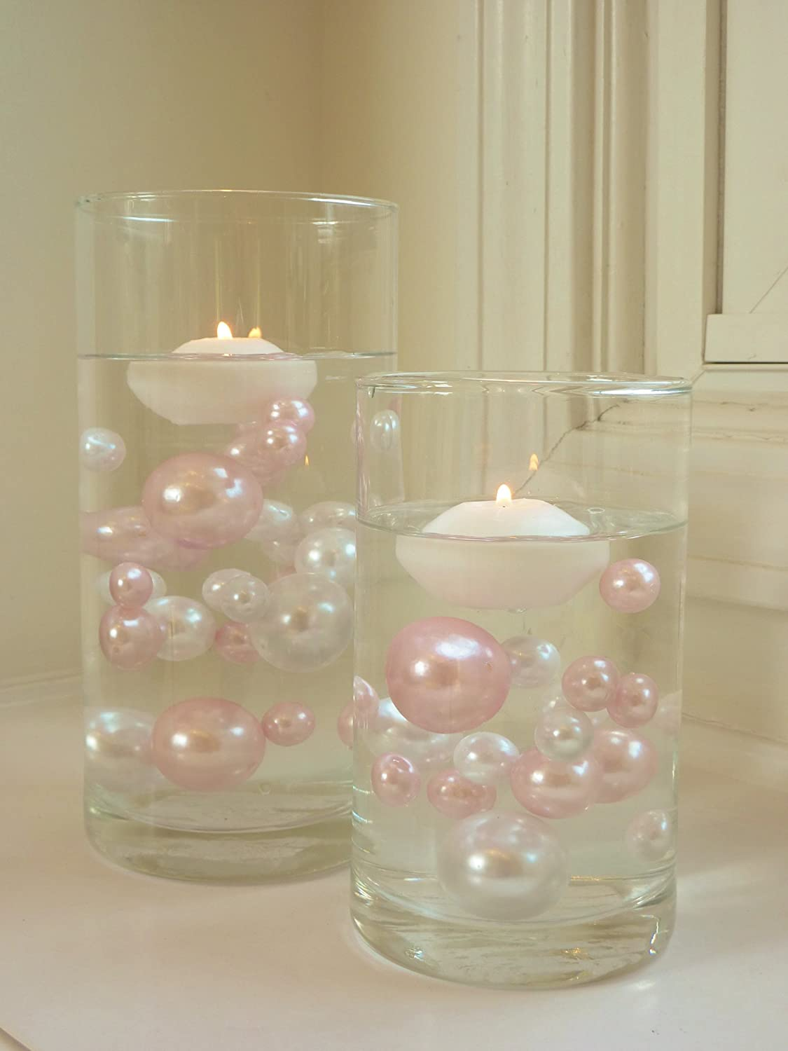 Amazon.com: 80 Jumbo & Assorted Sizes All Light Baby Pink Pearls ...