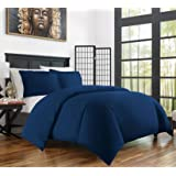 Zen Bamboo Ultra Soft 3-Piece Bamboo Derived Rayon Duvet Cover Set -Hypoallergenic and Wrinkle Resistant - King/Cal King - Navy Blue
