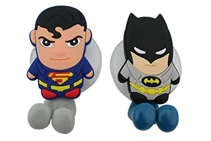 FinexSet of 2 DC COMICS SUPERHEROES Batman vs & Superman Toothbrush Holders with Suction Cup for