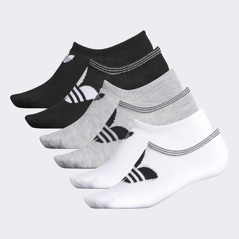 adidas Originals Trefoil Superlite No Show Damen Socken, 6 Paar, Damen, Women's Originals Trefoil 6 pack Super No Show Sock, WeißHellgrauSchwarz,
