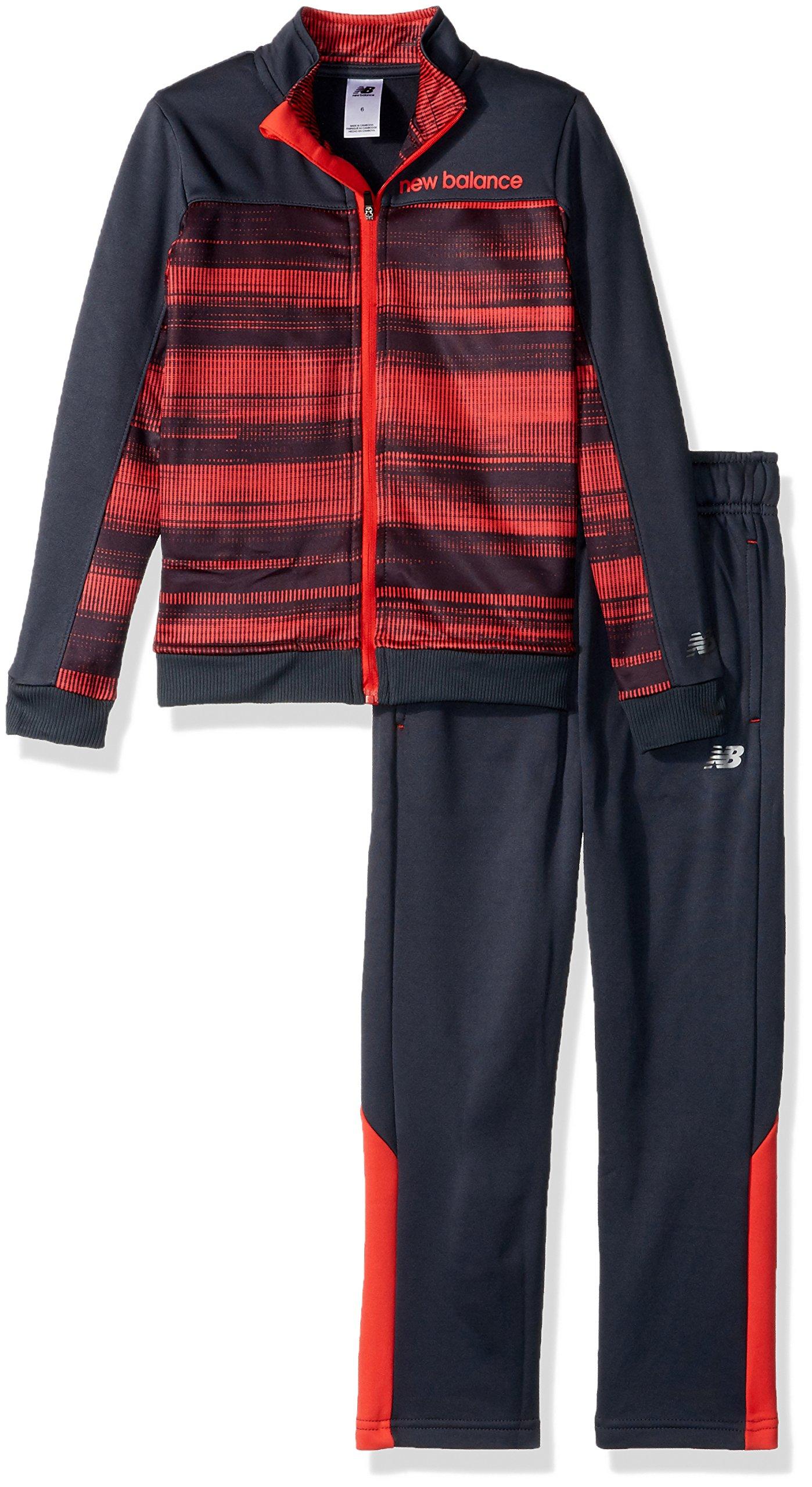 New Balance Toddler Boys' Athletic Jacket and Pant Set, Stripe/Thunder/Red, 3T by New Balance