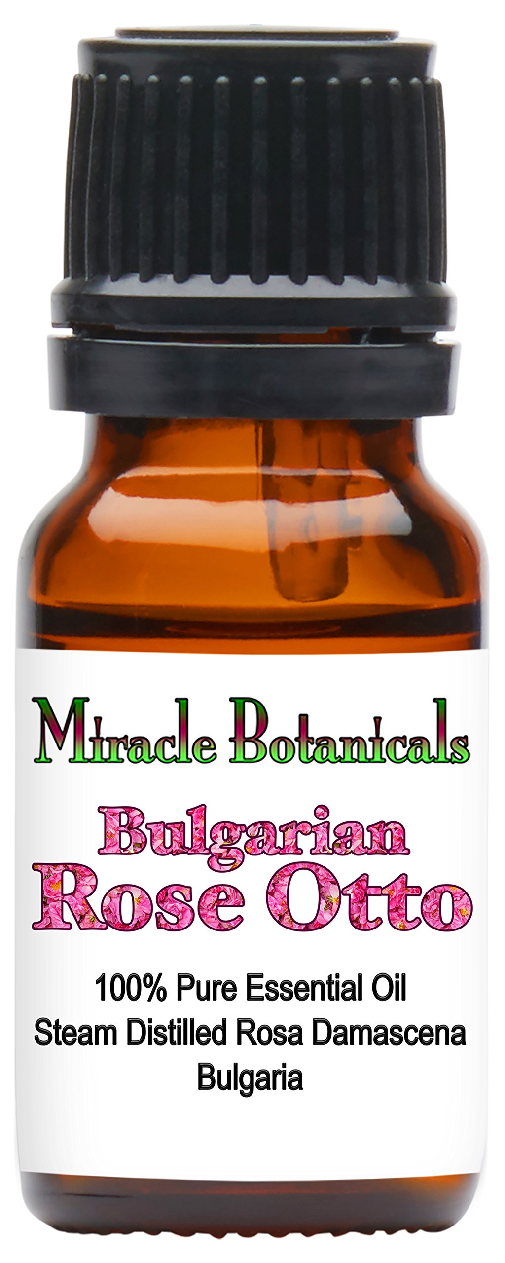 Miracle Botanicals Bulgarian Rose Otto Essential Oil - 100% Pure Rosa Damascena - 2.5ml, 5ml, and 10ml Sizes - Therapeutic Grade - 10ml