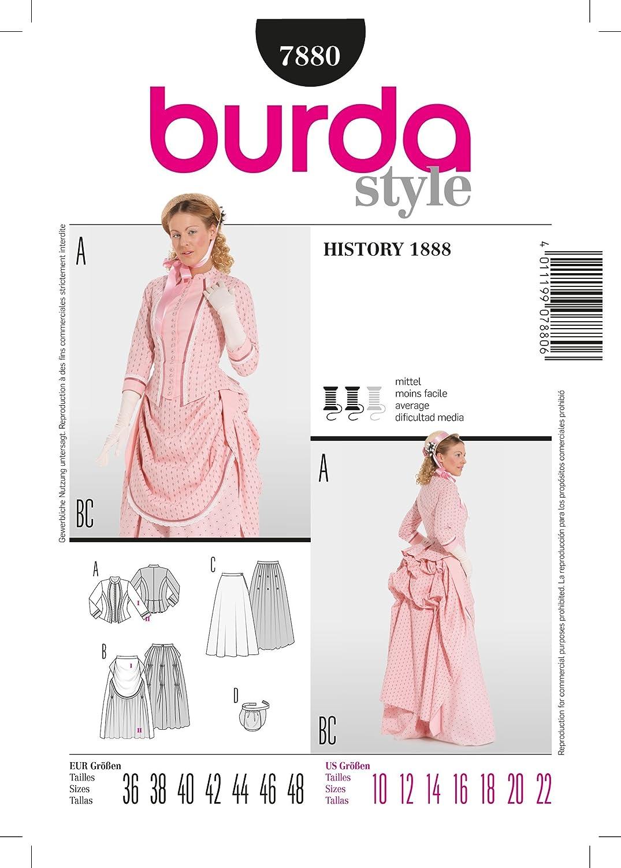 Burda B7880 - Cartamodello per realizzare vestito lungo stile 800 da donna, taglie varie, 19 x 13 cm