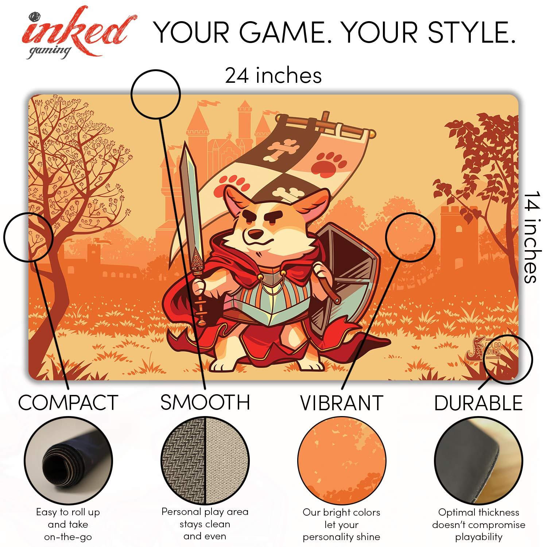 Inked Playmats Warrior Corgi Playmat Inked Gaming Perfect for Card Gaming TCG Game Mat