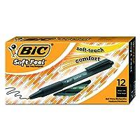 BIC Soft Feel Clic Grip Ballpoint Pens Black 12 Box