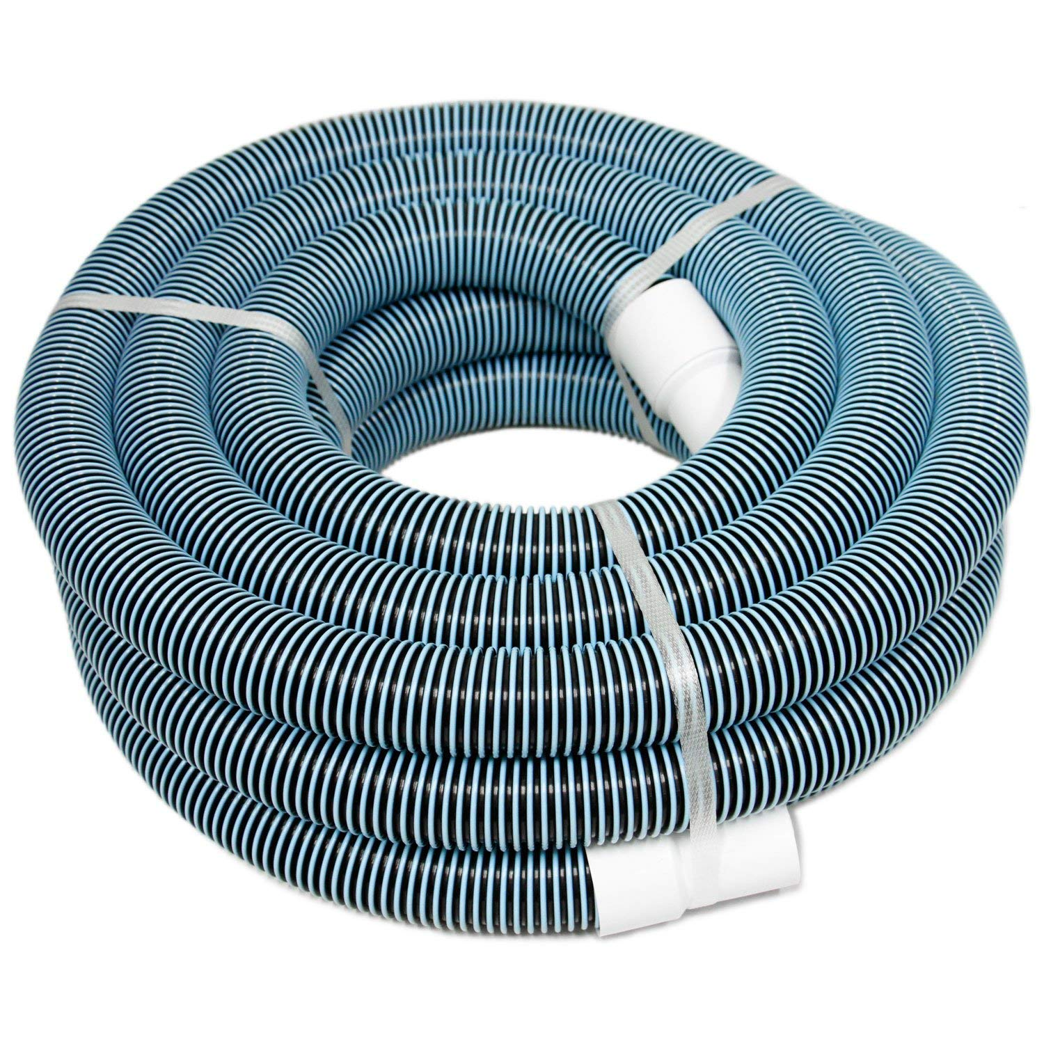 "POOLWHALE 1.5""x 36ft 2-Color Heavy Duty Spiral Wound Vacuum Hose with Swivel Cuff"