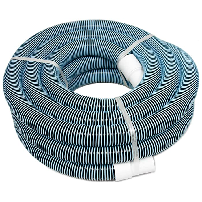 """POOLWHALE 1.5""""x 36ft 2-Color Heavy Duty Spiral Wound Vacuum Hose with Swivel Cuff"""