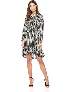 5f91ffb0550 Moon River Women s Notch Collar Long Sleeve Corseted Gingham Shirt Dress