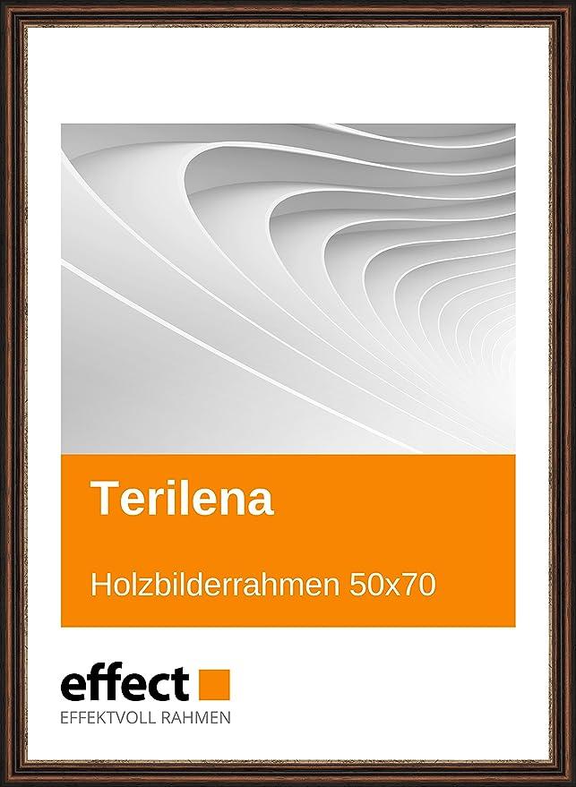 Effect Bilderrahmen Terilena Nußbraun Gold Bilderrahmen Holz 50x70 ...