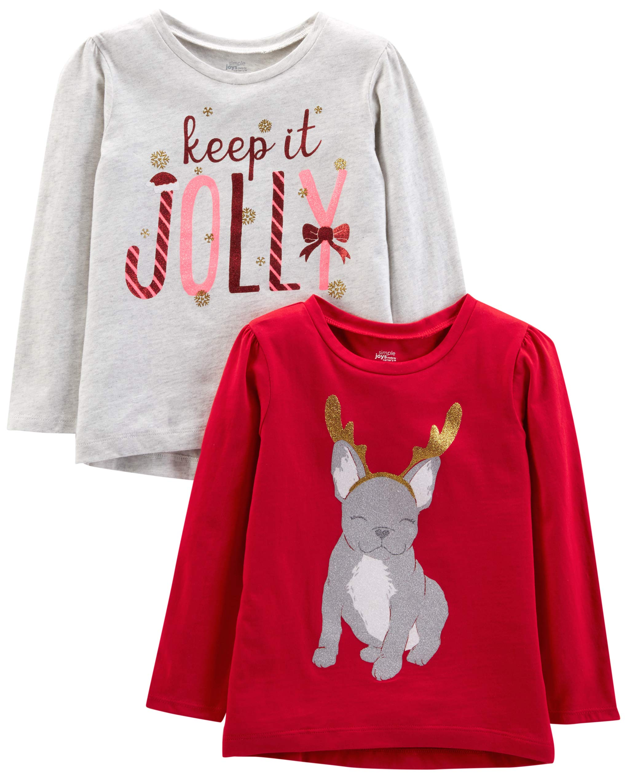 Simple Joys by Carter's Toddler Girls' 2-Pack Christmas Long-Sleeve Tees